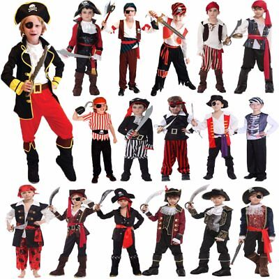 Halloween Party Costumes for Boys Boy Pirate Costume Captain Cosplay Suit Outfit](Pirates Costumes For Boys)