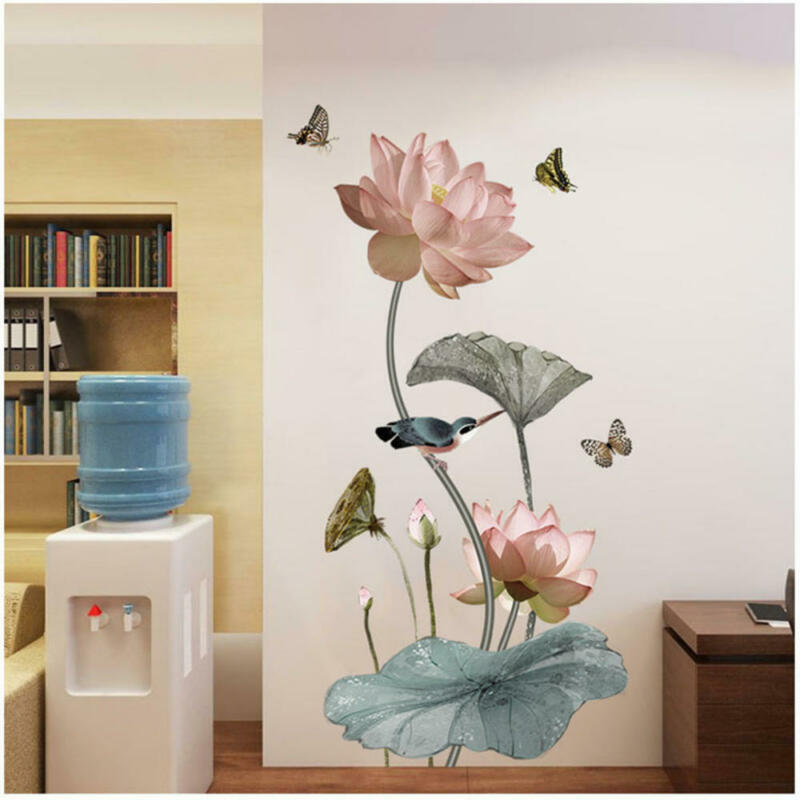 Home Decoration - Lotus Flower Wall Sticker Living Room Wallpaper Self-adhesive Home Wall Decor UK