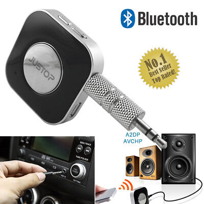 JUSTOP Bluetooth Wireless Audio Receiver Car Kit 3.5mm AUX Stereo Music Adapter