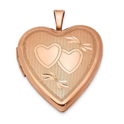 Sterling Silver Rose Gold-plated 20 MM Double Hearts Heart Locket Charm Pendant