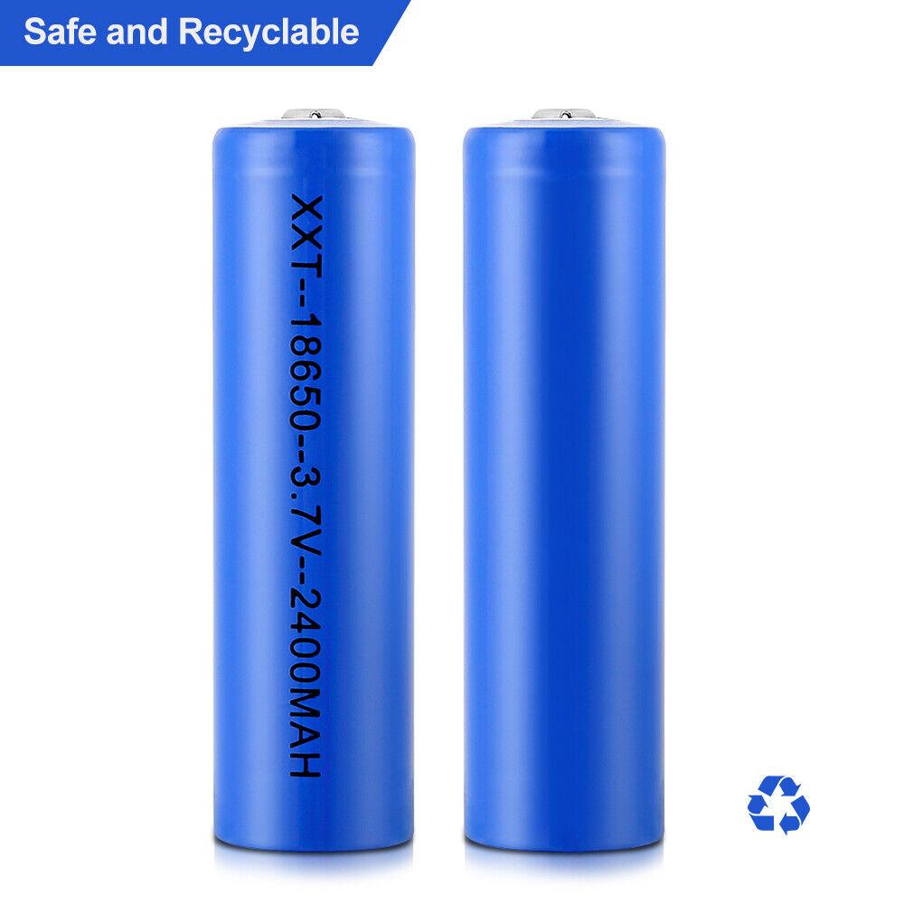 2x Wiederaufladbar Batterie Solar LED Akku Rechargeable 18650 LI-ON 2400mAh 3,7V
