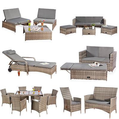 Rattan Loungeliege Grau Gartenbank Relaxsessel Sitzgruppe Lounge Sitzmöbel
