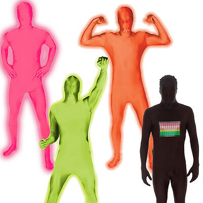 CHEAP UV NEON GLOW MORPHSUIT FANCY DRESS COSTUME STAG DO PARTY OUTFIT - Cheap Male Costumes