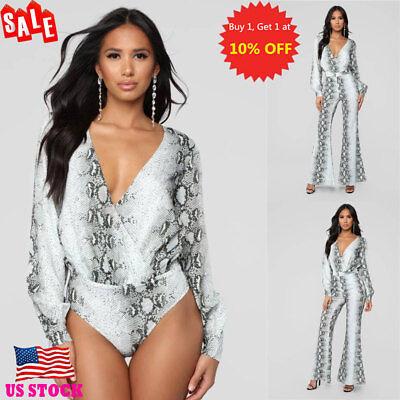 - US Womens Snake Skin Printed V Neck Jumpsuit Rompers Long Sleeve Bodysuit Tops