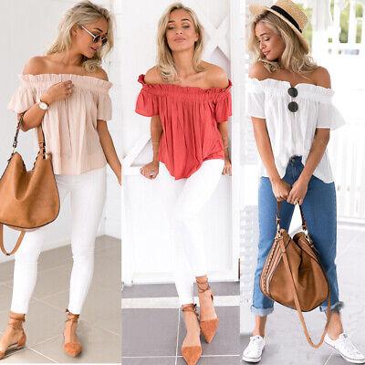 Rüschen Bluse T-shirt Top (Damen Schulterfrei Rüschen Carmen Bluse Top Sommer T-Shirt Oberteil Hemdshirt DE)