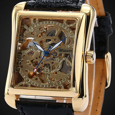 Mens Skeleton Mechanical Wrist Watch Steampunk Yellow Gold Luxury Black Leather