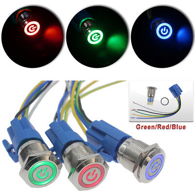 19mm 12v Led Power Symbol On-off Car Push Button Switch Latch Metal Acdc 12v Us