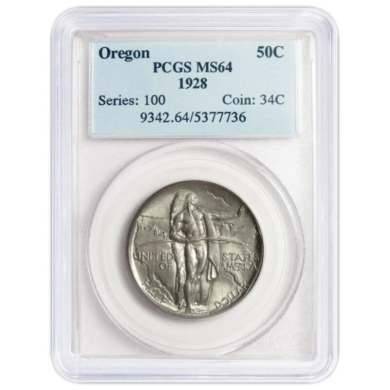 1928 50c Oregon Trail Commemorative Silver Half Dollar PCGS MS64