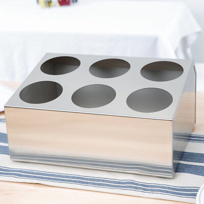 6 Hole Countertop Stainless Steel Silverware Cutlery Holder Organizer Box Bin