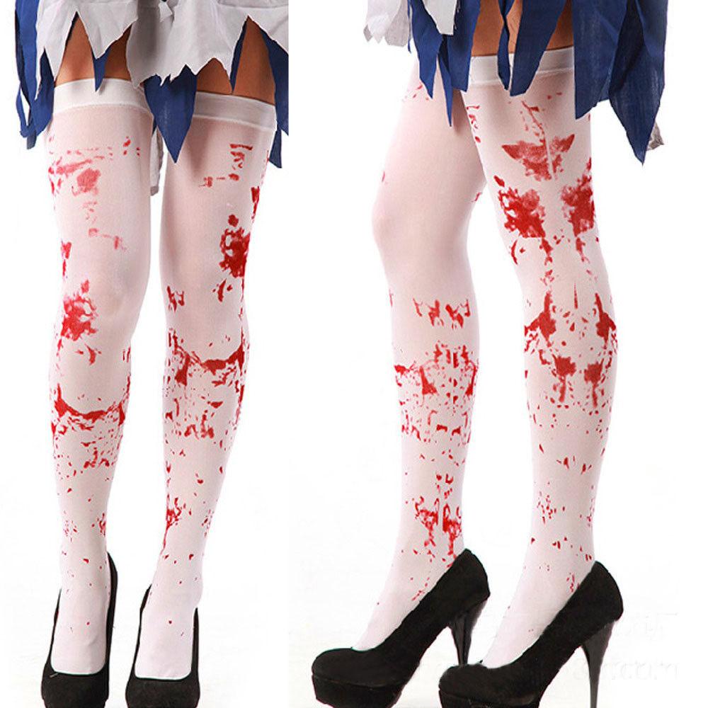 Women Horror Christmas Halloween blood socks Party Bloody Nurse Fancy Long Socks