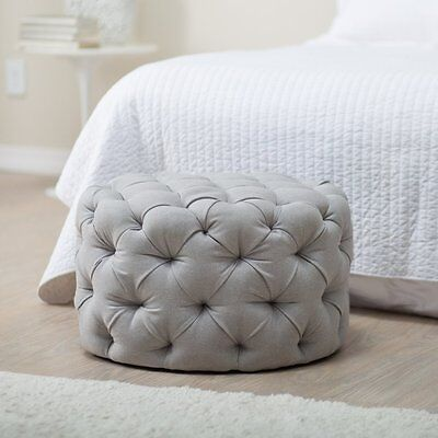 Round Allover Tufted Polyester Upholstered Ottoman Home Living Room -