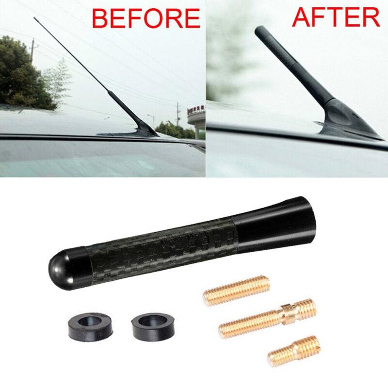 """3/"""" Universal Black Carbon Fiber Car Antenna Screw Aluminum Short Radio Aerial"""