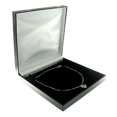 Chain Necklace Gift Box (Black Faux Leather Large Chain Necklace Box Display Jewelry Gift Box Classic )
