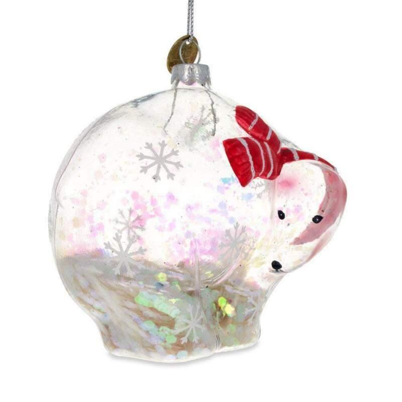 Clear Polar Bear Glass Christmas Ornament 3.8 Inches