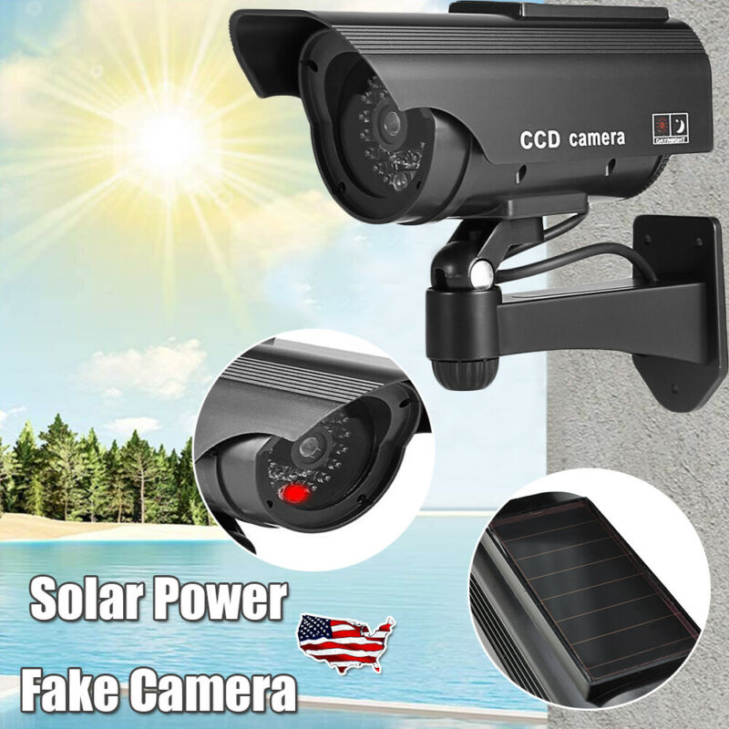 Solar Fake Security Camera Dummy Bullet Decoy Realistic CCTV Surveillance w/LED