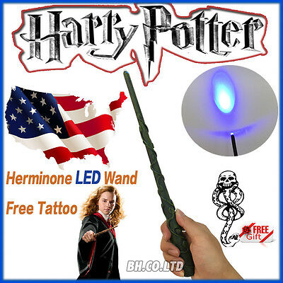 "Harry Potter 13.4"" Hermione Magical Wand Replica LED Light Up In Box Free Tattoo"