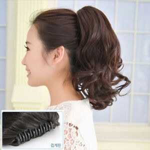 UK-Fast-Shipping-Short-Wavy-Curly-Hair-Ponytails-Claw-Clip-in-Hair-Extension
