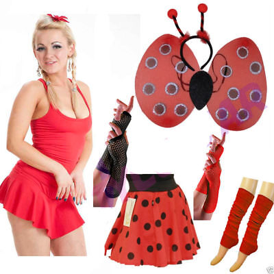 Girls Ladies Lady Bird Costume Lady Bird Set of Wings Skirt Gloves Leg Warmer