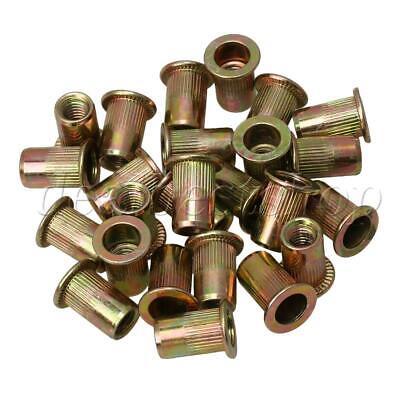 6mm Threaded Rivet Nut Inserts Rivnut Nutsert Carbon Steel M6 25pcs