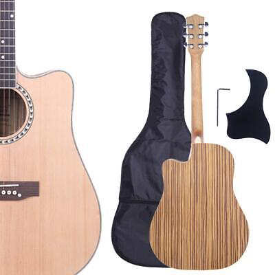 New GT602 Professional Acoustic Cutaway Zebrano Back Guitar with Bag