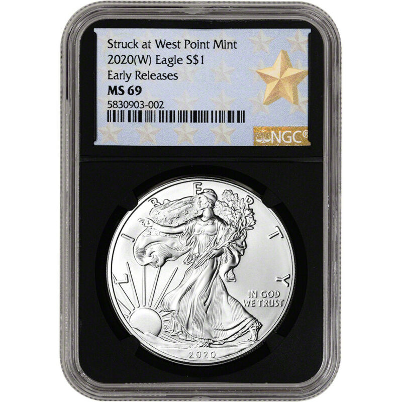 2020-(W) American Silver Eagle - NGC MS69 - Early Releases - Star Label - Black