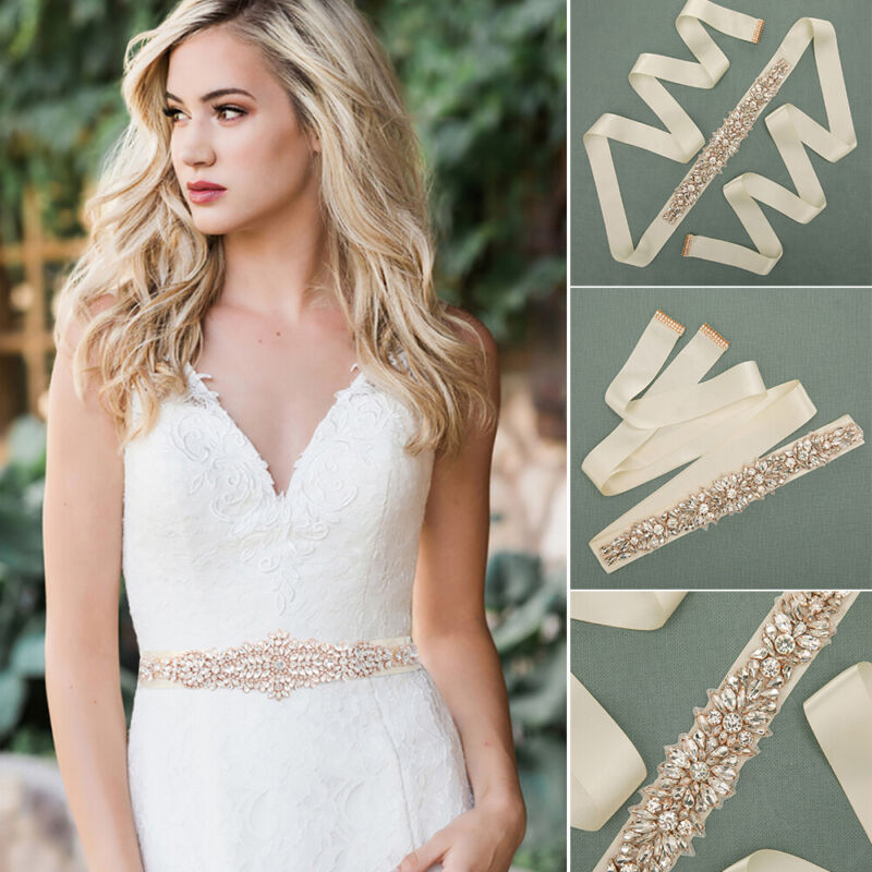 Luxury Crystal Rhinestone Bridal Sash Wedding Dress Waist Belts Bridal Accessory