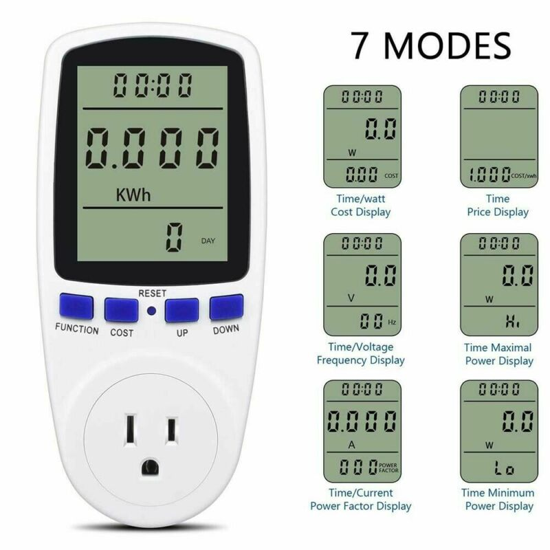 Digital Electricity Power Saving Energy Monitor Watt Amps Volt Meter Analyzer US