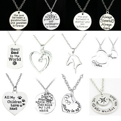 Silver Charm Chain Necklace For Women Girls Gifts Family Best Friends