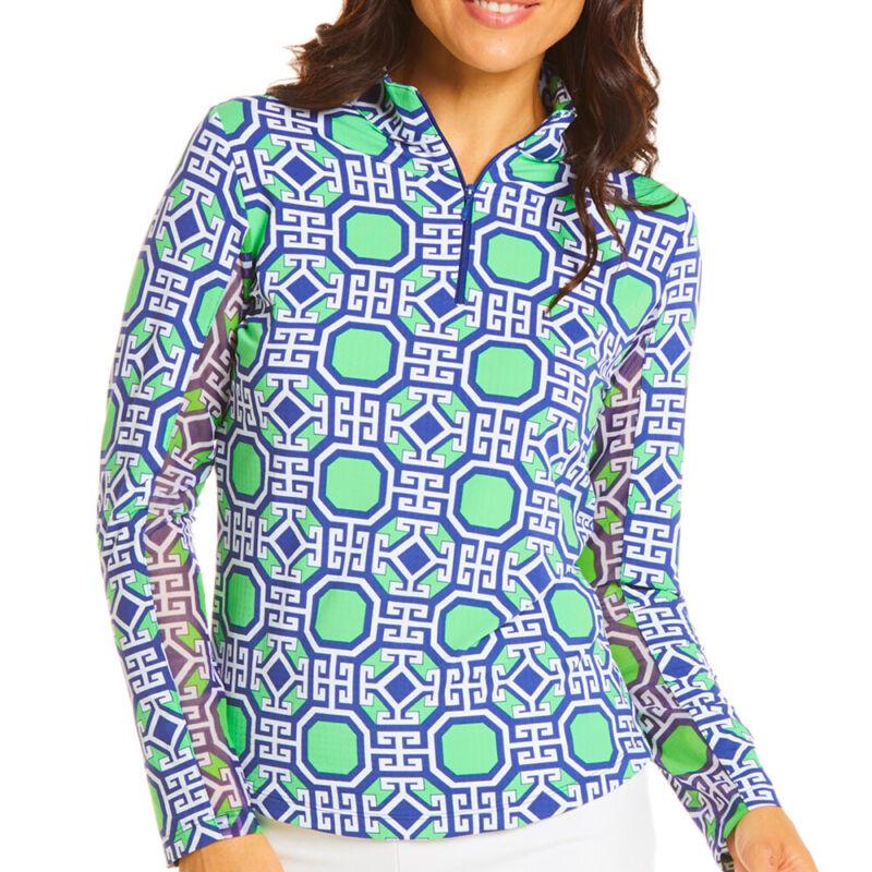 IBKUL Ladies Long Sleeve Mock Neck Top - Classic Key Print