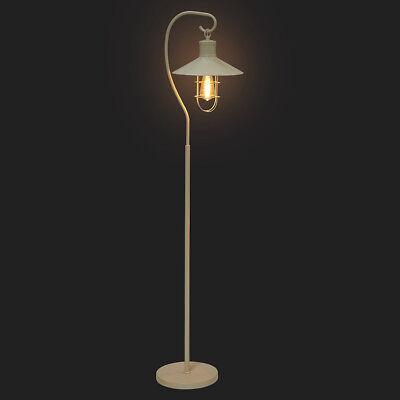 Worcester Cream Vintage Freestanding Fisherman's Floor Lamp with Filament Bulb