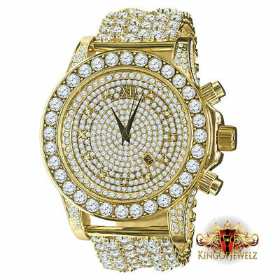 Gold Tone Solitaire Simulated Lab Diamond Custom Luxury Watch 6 Row Custom Band  Gold Tone Solitaire