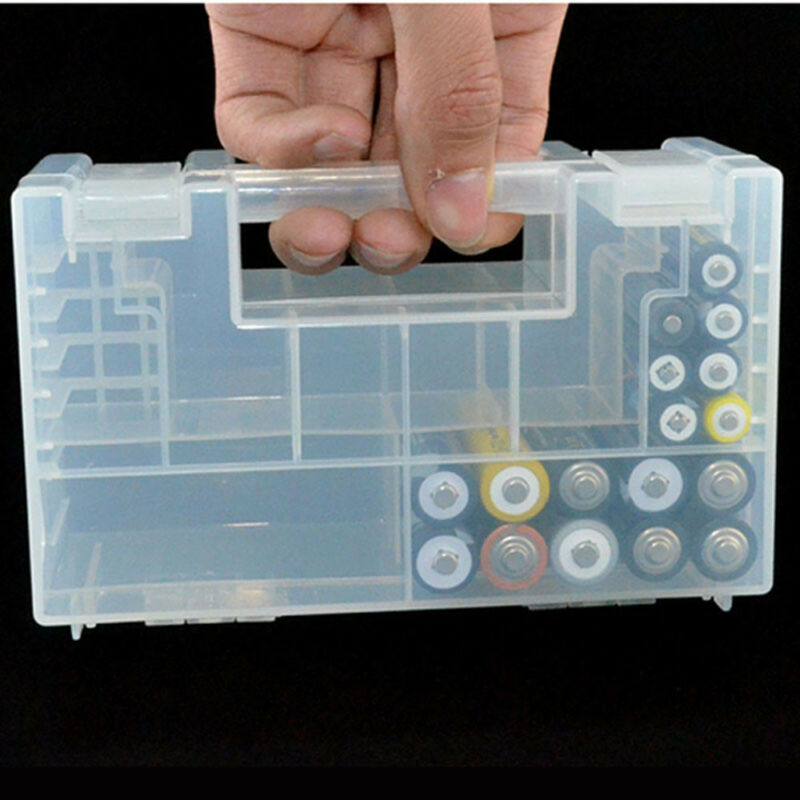 Large Durable Transparent Battery Case Holder Storage Box for AA AAA Batteries