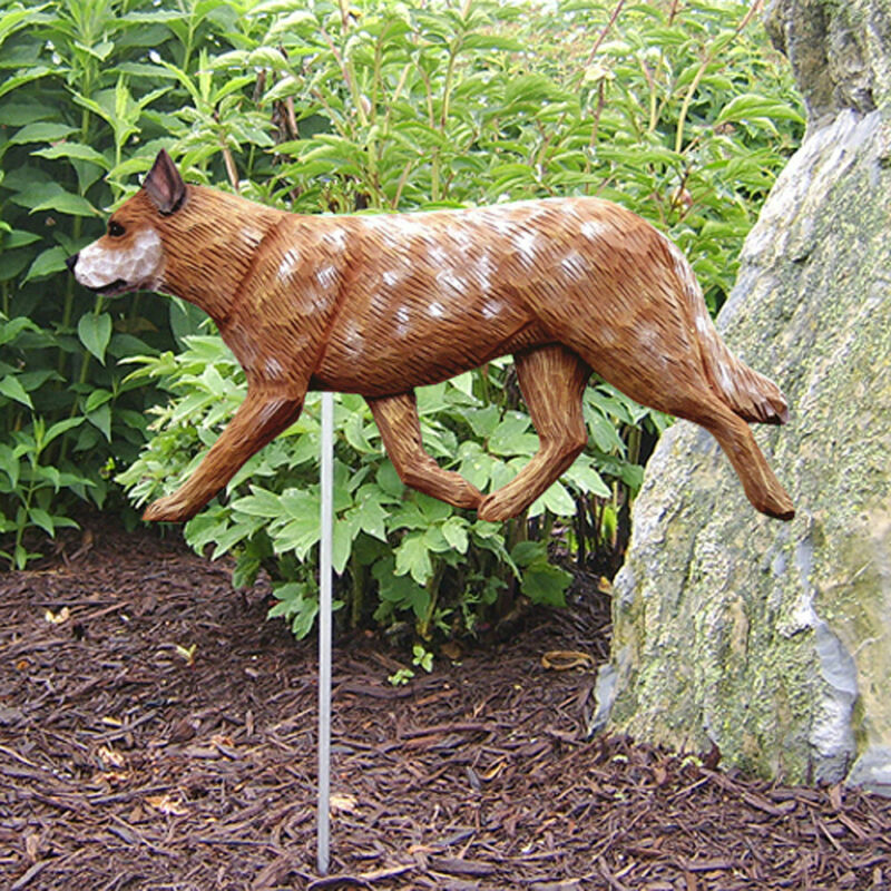 Australian Cattle Dog Outdoor Garden Sign Hand Painted Figure Red