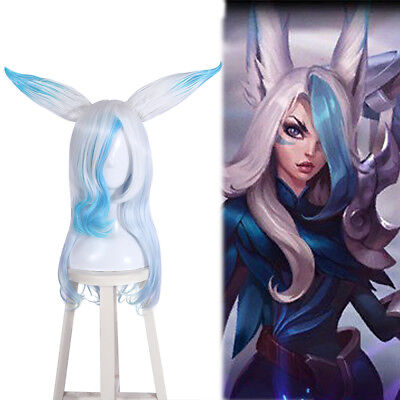 League of Legends LOL Xayah The Rebel White Mixed Blue Cosplay Wigs With Ears](Blue And White Wig)
