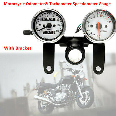 Motorcycle Odometer Tachometer Speedometer Gauge +Bracket LED Backlight RPM Km/h