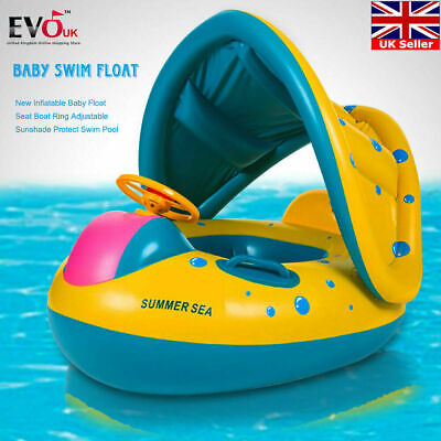 Adjustable Inflatable Sunshade Baby Kid Float Seat Boat Ring **UK FAST POST**