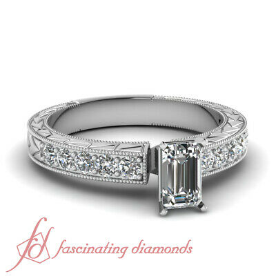 Womens Engagement Ring Pave Set 1.10 Ct Emerald Cut Untreated Diamond VVS1 GIA
