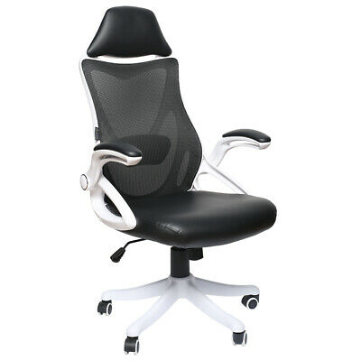 Ergonomic High Back Office Chair High Executive Computer Desk Mesh Pu White