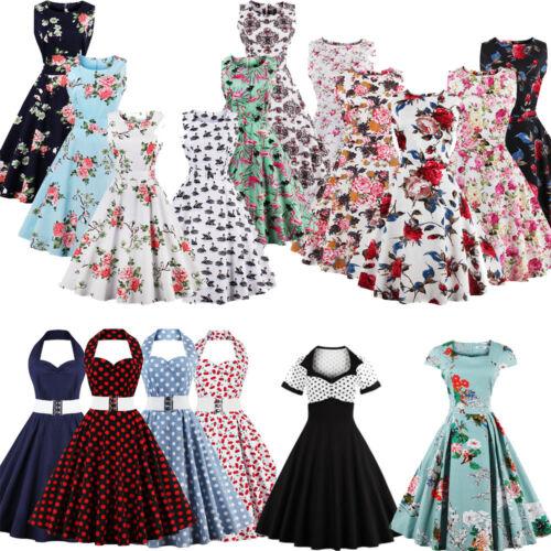 117c3b72139 Damen 50er Jahre 60er Vintage Blumen Stil Rockabilly Cocktail Party Swing  Kleid