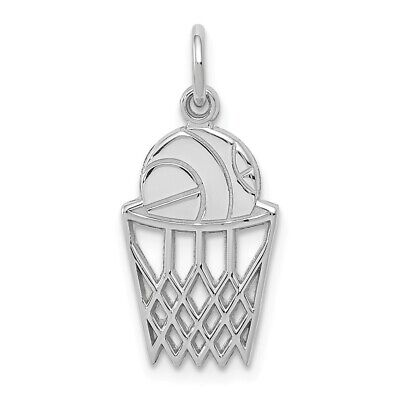 14K Yellow Or White Gold Basketball In Net Charm 14k White Gold Basketball Charm