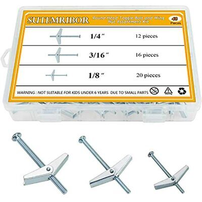 1/8 Inch, 3/16 1/4 Toggle Bolt And Wing Nut For Hanging Heavy Items On Drywall,