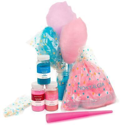 Nostalgia Fscc8 Cotton Candy Party Kit 3 Flavors 4 Reusable Cones 10 Floss Bags
