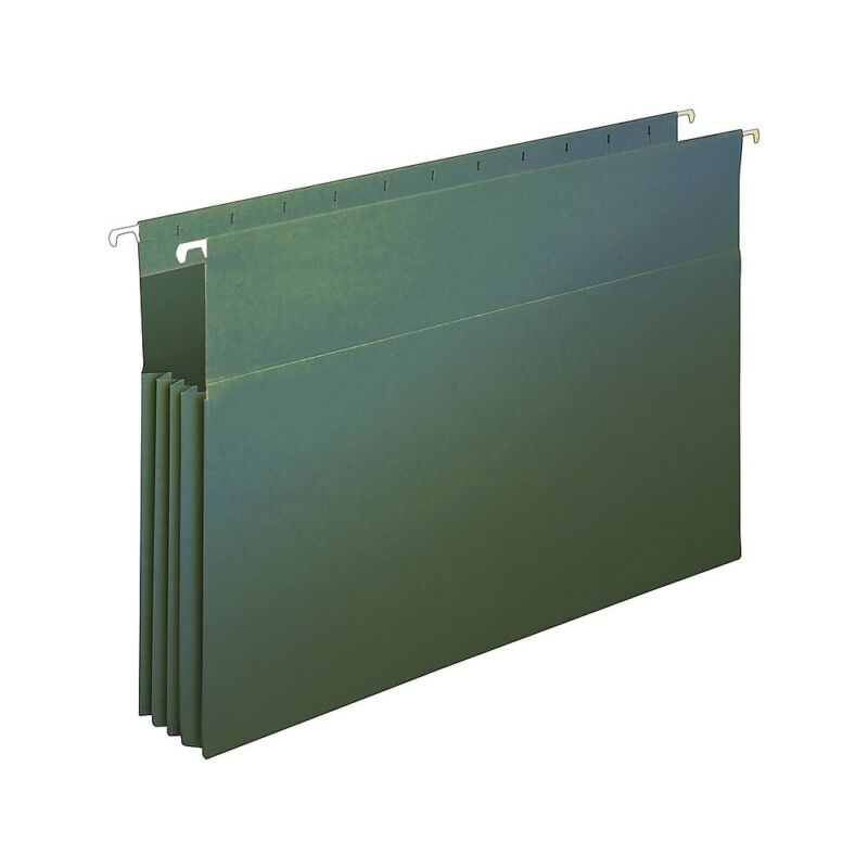 "Staples Hanging File Folders 3.5"" Expansion Legal Size Standard Green 4/PK"