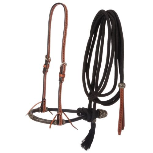 Western Brown Leather Headstall with Bosal and Mecate Reins