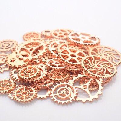 Zahnrad Mix Zahnräder Schmuck Anhänger Steampunk Basteln Kette Rose Gold Vintage