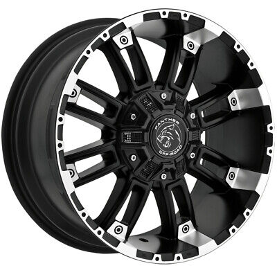 """4-Panther OffRoad 816 20x9 8x6.5""""/8x170 +0mm Black/Machined Wheels Rims 20"""" Inch"""