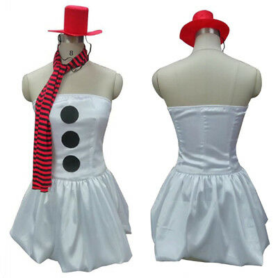 Christmas Xmas Woman Sexy Cute White Snowman Dress Costume + Scarf Hat HC-027