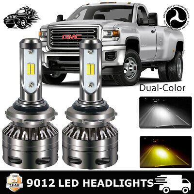 9012 HIR2 COB LED Headlight Bulbs Conversion Kit High Low Beam 6000K White (Best Light Bars For Cars)