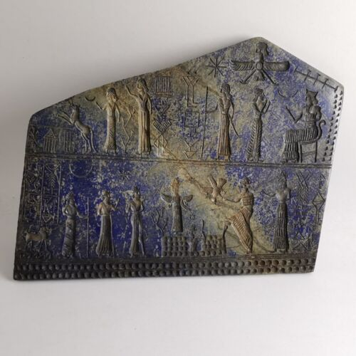 Ancient Sassanian Mesopotamia Gods Lapis Lazuli Carved Large Plaque #555