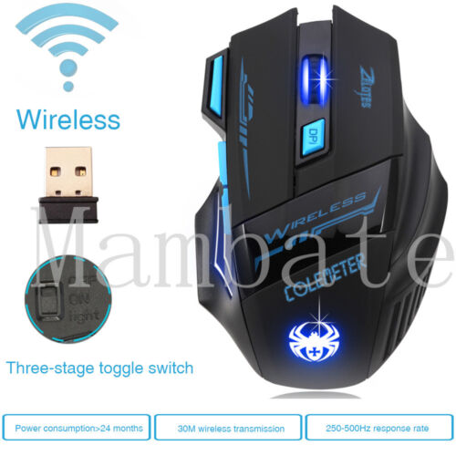 Zelotes Computer Gaming Mouse 2400 DPI 7 Button USB LED Ligh